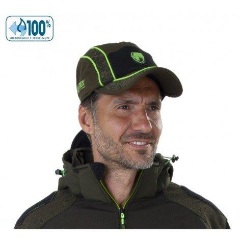 Berretto Sassolungo Impermeabile Verde Profili Verde Fluo