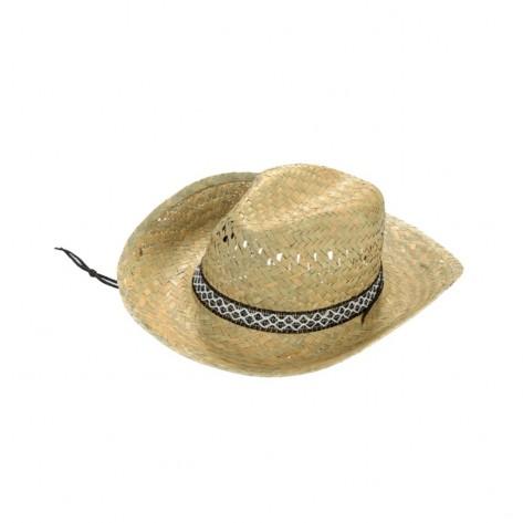 Cappello Cowboy Uomo Con Sottogola 100% Paglia
