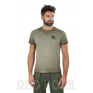 T-Shirt Cotone Verde Stampa Cinghiale