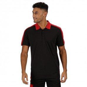 Polo Contrast Bicolore Nero/Rosso