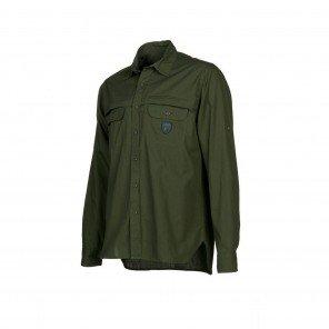 Camicia Popeline Manica Lunga Verde