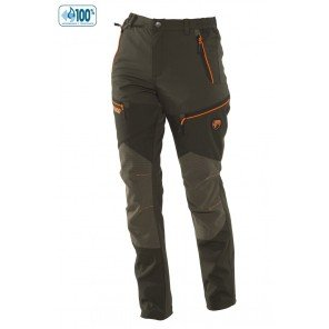 Pantalone Donna Softshell Impermeabile Verde-Arancio