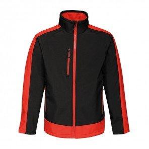 Giacca Contrast Soft Shell Impermeabile Bicolore Nero/Rosso
