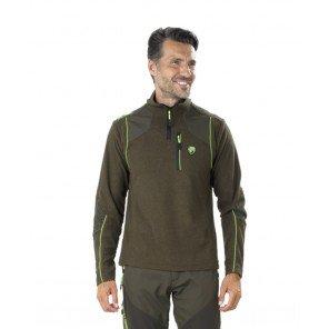 Lupetto Pile Verde Scuro Melange Monte Bianco Con Rinforzi Profili Verde Fluo
